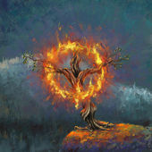 God in the burning bush — Stock Photo