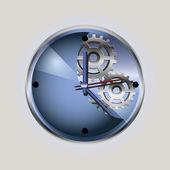 Blue clpck with the gear-wheel — Stock Vector