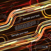 Abstract orange techno frame for text or photos — Stock Vector