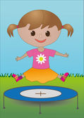 Una chica en un trampolín — Vector de stock