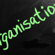 Organisation handwritten with white chalk on a blackboard — Stock Photo