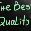 "Stock Photo: ""best quality"" handwritten with white chalk on blackboard"