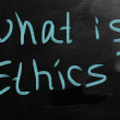 "Stock Photo: ""Ethics"" handwritten with white chalk on blackboard"