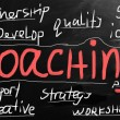"Stock Photo: ""Coaching"" handwritten with white chalk on a blackboard"
