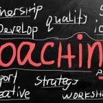 """Coaching"" handwritten with white chalk on a blackboard — Stock Photo"