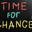 "Stock Photo: ""Time for change"" handwritten with white chalk on blackboard"
