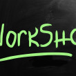 """Workshop"" handwritten with white chalk on a blackboard — Stock Photo"