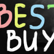 """Best buy"" handwritten with white chalk on a blackboard — Foto de Stock"