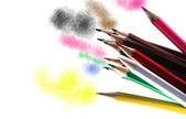 Multicolored pencils isolated on white background — Photo