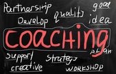 """Coaching"" handwritten with white chalk on a blackboard — 图库照片"