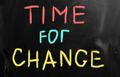 """Time for change"" handwritten with white chalk on a blackboard — ストック写真"