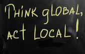 Think global act local marketing business concept — 图库照片