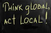νομίζω ότι το τοπικό μάρκετινγκ πράξη παγκόσμια επιχειρηματική ιδέα — Φωτογραφία Αρχείου