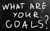 """what are your goals"" handwritten with white chalk on a blackboa — Stock Photo"