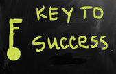 """Key to success"" handwritten with white chalk on a blackboard — Stock Photo"