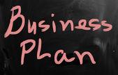 «бизнес-план» от руки с белым мелом на доске — Стоковое фото
