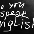 """Do you speak english"" handwritten with white chalk on a blackbo — Stock Photo"