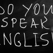 Do you speak english handwritten with white chalk on a blackbo — Stock Photo