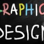 """Graphic design"" handwritten with white chalk on a blackboard — Stock Photo"