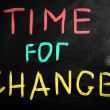 """Time for change"" handwritten with white chalk on a blackboard — Stock Photo #28201651"