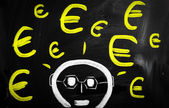 """Euro"" handwritten with white chalk on a blackboard — Stock Photo"