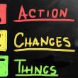 アクションは、物事を変更します。 — ストック写真