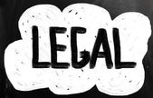 """The word """"Legal"""" handwritten with white chalk on a blackboard — Stock Photo"""