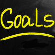 Goals handwritten with white chalk on a blackboard — Stock Photo
