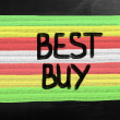 Best buy handwritten with white chalk on a blackboard — Stock Photo