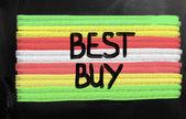 """Best buy"" handwritten with white chalk on a blackboard — Stock Photo"