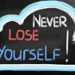 Stockfoto: Never Lose Yourself Concept