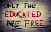 Only The Educated Are Free Concept — Stock Photo
