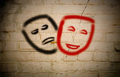 Comedy And Tragedy Theatrical Masks Concept — Photo