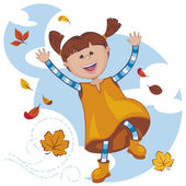 Girl playing with the fall leaves — Stock Vector