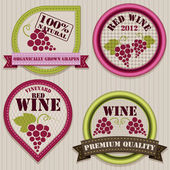 Wine patchwork labels — Stock Vector