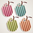 Striped label set: pink, blue, green and orange - Vettoriali Stock