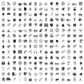 Set of black and gray icons — Vector de stock
