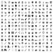 Set van zwarte en grijze pictogrammen — Stockvector
