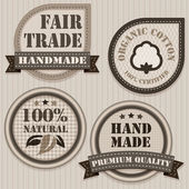 Handmade, fair trade and organic clothing labels. — Stock Vector