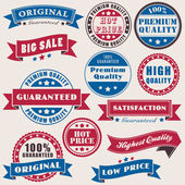 Vector set of retro labels about commerce — Vector de stock