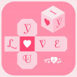 Cut-out cube: I Love You — Imagen vectorial