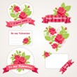 Card design. Roses and Valentine's Day — Stockvectorbeeld