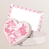 Gift box with roses and postcard. — Stock Vector