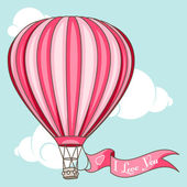 """Hot air balloon with banner """"I love You"""" — Vecteur"""