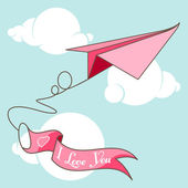 """Origami airplane with banner """"I Love You"""" — Stock Vector"""