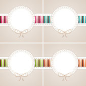 Sweet card set: pink, blue, green and orange — Stock Vector