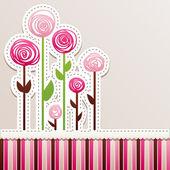 Disegno di carta con rose. — Vettoriale Stock