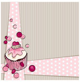 Card design. Muffin background. — Stock Vector
