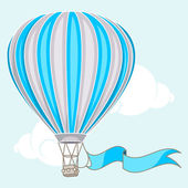Hot air balloon with banner — Vector de stock
