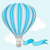 Ballon à air chaud avec bannière — Vecteur